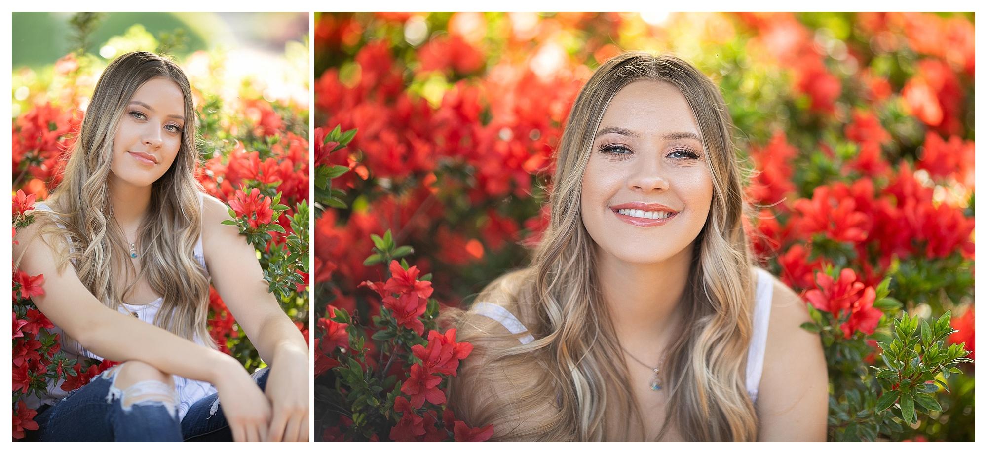 Senior high school girl spring portraits with flowers in Granite Bay California