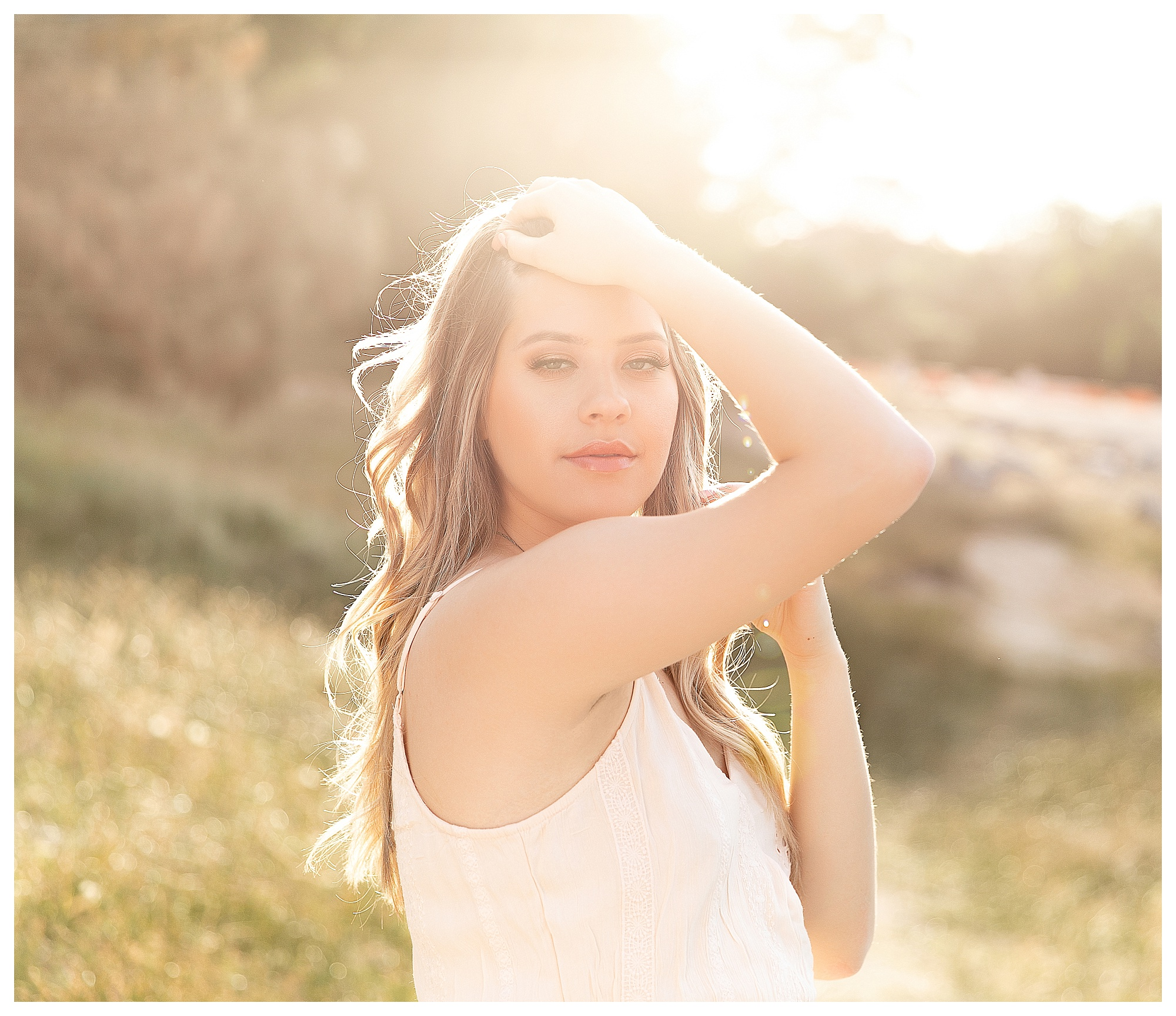Senior high school girl portraits at Folsom Lake in Granite Bay California