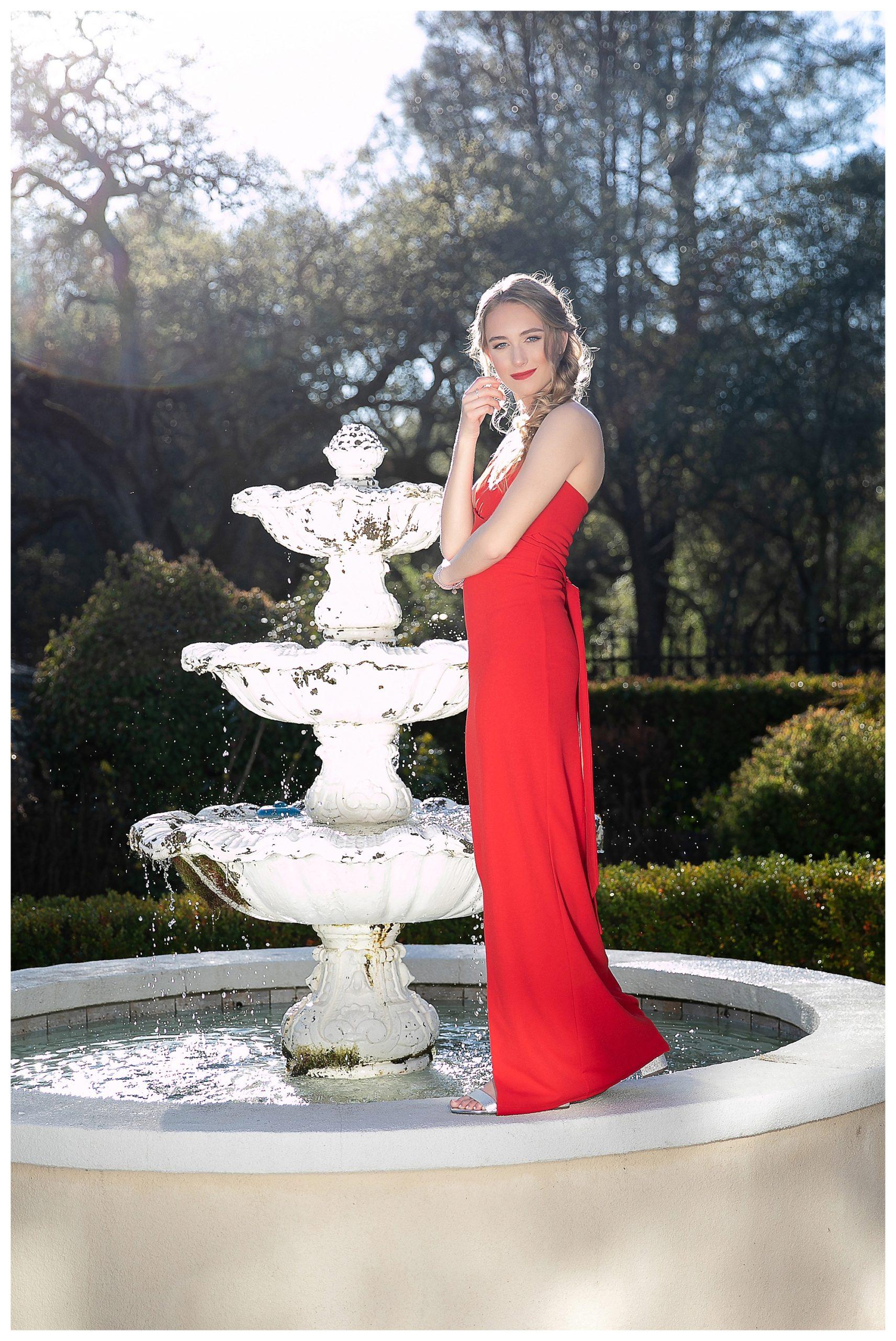 Senior high school girl in red dress