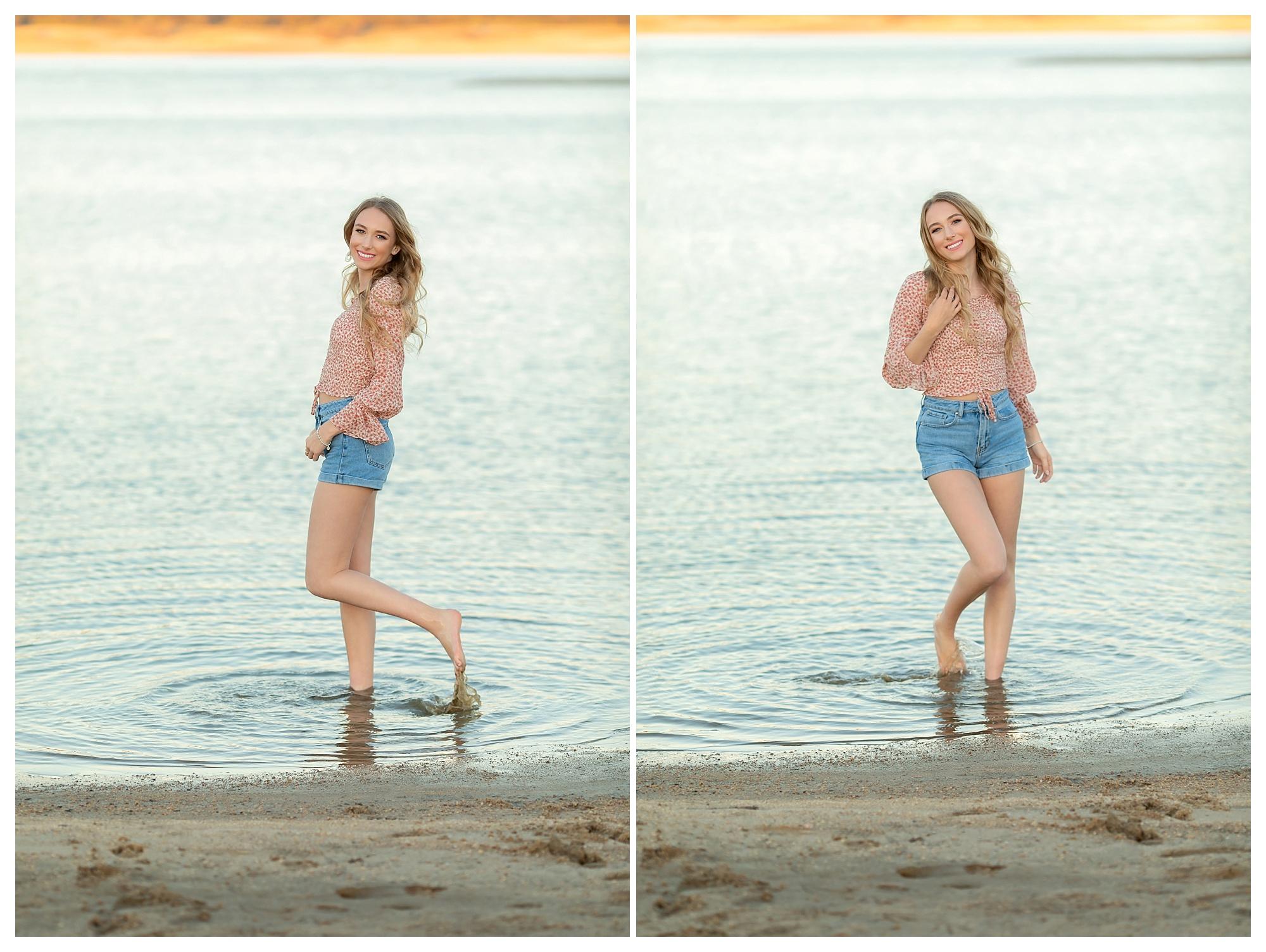Senior high school girl at Folsom Lake in Granite Bay California